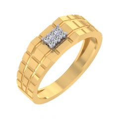 Elegant Grooved Design Diamond Ring