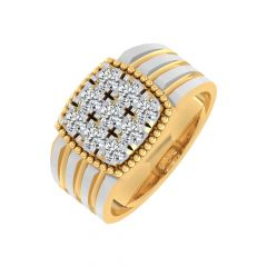 Glittering Prong Set Two Tone Grooved Design Diamond Ring