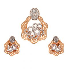 Glossy Finish Curved Overlapping Round Design With Studded CZ Rose Gold Pendant Set