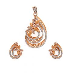 Glossy Matte Finish Curved Floral Cocktail Design With Studded CZ Rose Gold Pendant Set