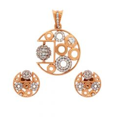 Glossy Matte Finish Round Moving Ball Design With Studded CZ Rose Gold Pendant Set