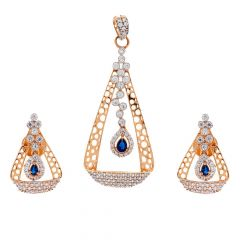 Glossy Finish Synthetic Blue Stone Trident Drop Pearl Design With Studded CZ Rose Gold Pendant Set