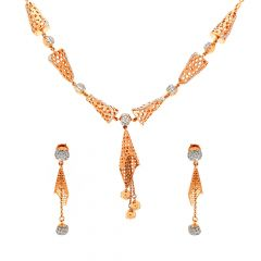 Glossy Finish Hollow Cone And Balls Link Design With Studded CZ Rose Gold Necklace Set
