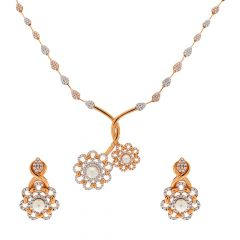 Glossy Finish Synthetic Pearl Drop Blossom Floral Design With Studded CZ Rose Gold Necklace