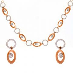 Matte Glossy Finish Circle Linked With CZ Studded Rose Gold Necklace Set