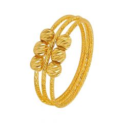 Elite Textured Bead Ball Gold Ring