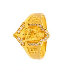 Glossy Finish Lord Sai Baba Swastik Design With Studded CZ Gold Ring