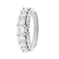 Glossy Finish Prong Set Half Eternity Design With Studded CZ White Gold Ring