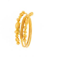 Glossy Finish Embossed Leafy Spiral Design Adjustable Gold Ring
