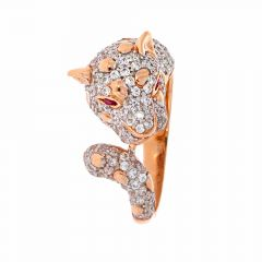 Glossy Finish Cheeta Cocktail Design Studded With CZ Gold Ring