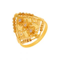 Traditional Textured Floral CZ Gold Ring
