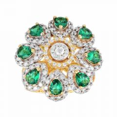 Sparkling Floral Design With Colour Stone Studded Diamond Ring