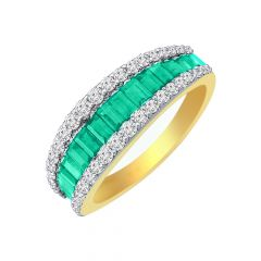 Classic Natural Emerald Gemstone Diamond Ring