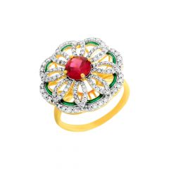 Blooming Floral Gemstone Diamond Ring