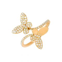 Fluttering Butterfly Bypass Design Diamond Ring