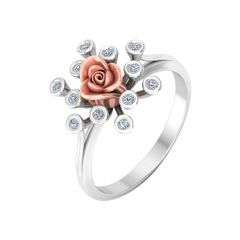 Blooming Two Tone Floral Diamond Ring