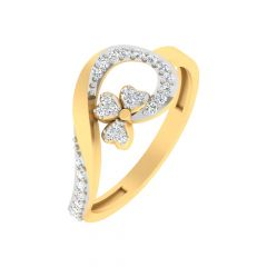 Sparkling Twisted Heart Design Yellow Gold Diamond Ring