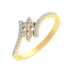 Glittering Twisted Design Diamond Ring