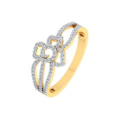 Sparkling Wavy Leaf Design Diamond Ring