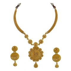 22kt Filigree Stiff Necklace Set - S1913