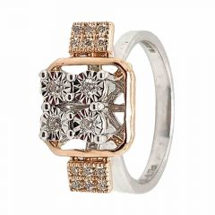 Glittering Pave Prong Set Cocktial Design Two Tone Diamond Ring