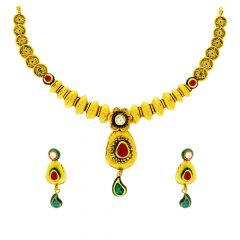 Ceremonial Textured Floral Gemstone Gold Necklace Set