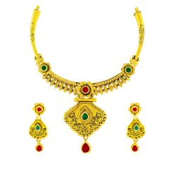 Traditional Textured Floral Gemstone Gold Necklace Set