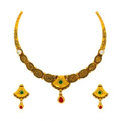 Classical Textured Engraved Gemstone Gold Necklace Set