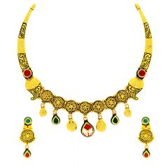 Anitque Enamel Floral Textured Paisley Gemstone Gold Necklace Set