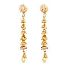 Glossy Finish Diamond Cut Synthetic Colour Stone Studded Gold Bead Ball Dangler Earrings