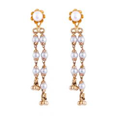 Glossy Finish Floral Design Studded With Synthetic Pearl Dangler Gold Earrings