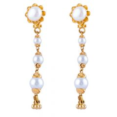Glossy Matte Finish Floral Design Diamond Cut Drop Bead Studded With Synthetic Pearl Gold Earrings