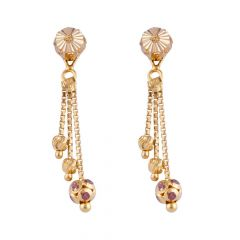 Glossy Finish Diamond Cut Three layer Design Studded With CZ Gold Earrings