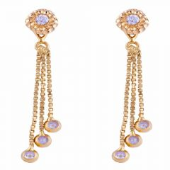 Glossy Finish Floral Design Drop Dangler Line With CZ Studded Gold Earrings