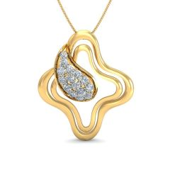 Spiral Square Wave Curved Drop Diamond Pendants - SDLS14235-DI