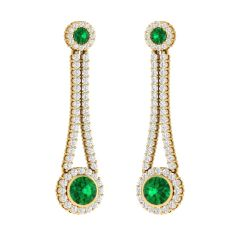 Sparkling Semi Precious Stone With Cluster Glittering Long Diamond Earring - SDT14805