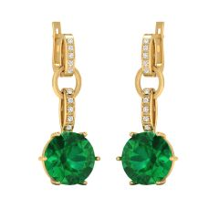 Sparkling Drop Semi Precious Stone With Cluster Diamond Bali Earring - SDT14895