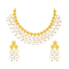 Stylish Circular Floral Two Tone Gold Necklace