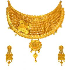 Traditional Embossed Textured Floral Chocker Gold Necklace Set