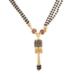 Drop Design Black Beads Three Layer Mangalsutra - SGN5169