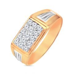 Traditional Grooved Diamond Men's Diamond Ring