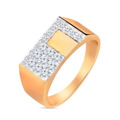 Sparkling Diamond Men's Gold Ring