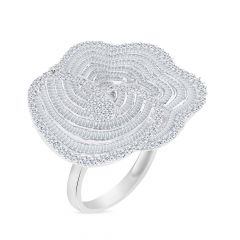 Glitter Fancy Shape Blooming Floral Diamond Ring