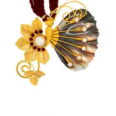 Unique Shell Gold Butterfly Gemstone Pendant