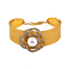 Glossy Satin Finish Sparkling Floral CZ With Pearl Gold Bracelet - SK85