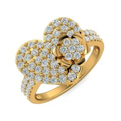 Sweet Heart Floral Design With CZ Studded Gold Ring