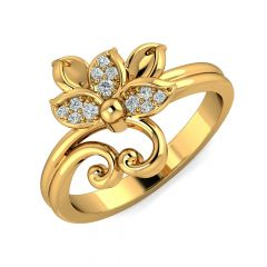 Elegant Floral CZ Studded Design Gold Ring