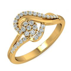 Enlite Floral Heart Design CZ Studded Gold Ring