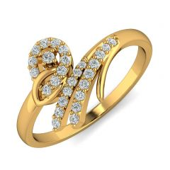 Elegant Bypass Design CZ Studded Gold Ring