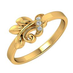 Swirl Leaf CZ Design Studded Gold Ring